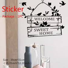 Welcome Sweet Home Quotes Wall Stickers Home Decor Living Room Door Sign Birds Flower Vine Wall Decals Wish