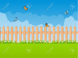 Garden Background With Green Tree And Wooden Fence Vector Illustration Royalty Free Cliparts Vectors And Stock Illustration Image 75102729