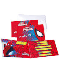 6 Tarjetas De Invitacion Con Sobres Spiderman Decoracion Y