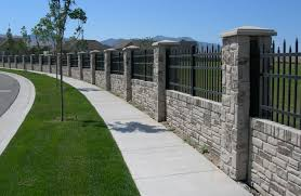 Privacy Fencing Concrete Walls With Realistic Stone Texture And Color Fence Design Fence Gate Design Concrete Fence