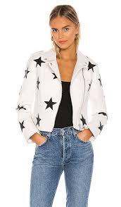 vegan leather star patch moto jacket