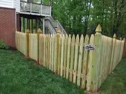 4 High Board On Board Wood Fence With Gothic Pickets And Posts In Haymarket Va Beitzell Fence Repin This To Your Home I Fencing Companies Wood Fence Fence
