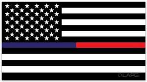 La Police Gear Thin Red Thin Blue Line Flag Decal