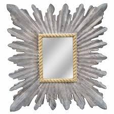 textured silver square sunburst mirror