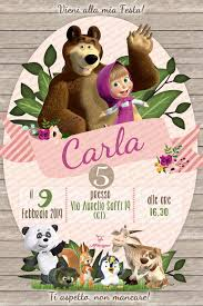 Digital Invitation Birthday Party Masha And The Bear Printable