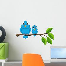 Bird Sitting Branch Wall Decal Wallmonkeys Com