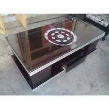 brown rectangular designer glass top