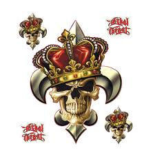 Lethal Threat Fler De Lis Skull Crown Decal Sticker Car Suv 6 X 8 Walmart Com Walmart Com