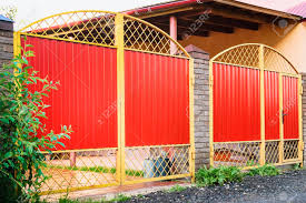 Metal Red Fence With Door And Gate Of Modern Style Design Metal Stock Photo Picture And Royalty Free Image Image 89982292