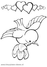Kleurplaat Vogel Met Hartjes Kleurplaten Dierenkleurplaten Dieren