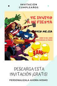 Invitacion De Cumpleanos Avengers