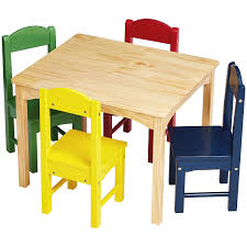 Amazon Com Amazonbasics Kids Wood Table And 4 Chair Set Natural Table Assorted Color Chairs Industrial Scientific