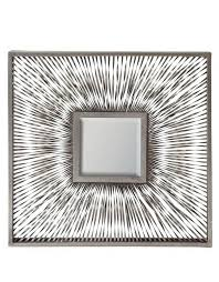 small square metal wave wall mirror