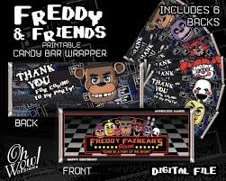 Five Night S At Freddy S Theme Candy Bar Wrapper Digital File