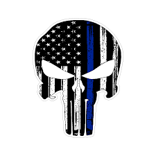 Punisher Skull Thin Blue Line Support Police Stressed Vinyl Car Sticke Doggy Style Gifts