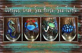 nautical hand painted stemless wine