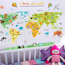 Cartoon World Map Pvc Diy Self Adhesive Vinyl Wall Stickers Bedroom Home Decor For Children Room Decoration Art Wall Decal Mural Decoration For Children Decorations For Children S Roomsvinyl Wall Stickers Aliexpress