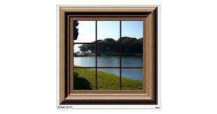 Fake Window View Lake Landscape Mural Wall Decal Zazzle Com