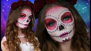 pink sugar skull makeup tutorial