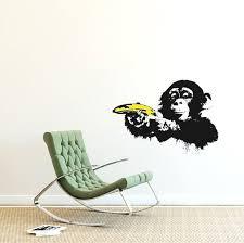 Banksy Decal Monkey With Warhol Banana Monkey Wall Sticker Etsy