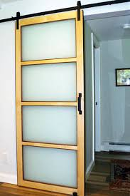 frosted glass sliding barn door stylish