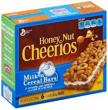 cheerios honey nut milk n cereal bars