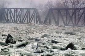 Image result for river flood ice breaking up