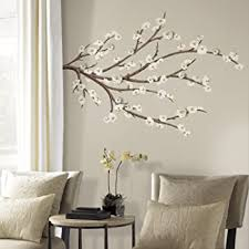 Roommates White Blossom Branch Peel And Stick Giant Wall Decals With Flower Embellishments Multicolor Amazon Com