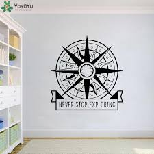 Yoyoyu Wall Decal Compass Never Stop Exploring Vinyl Wall Stickers Nautical Travel Wild Adventure Living Room Poster Qq46 Wall Stickers Aliexpress