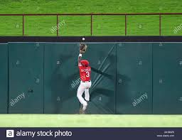 Arlington Texas Usa 24th Sep 2019 Texas Rangers Center Fielder Delino Deshields 3 Attempts To Catch A Ball That Goes Over The Fence For A Home Run In The Bottom Of The