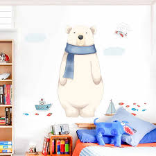 Tofok Painting Cartoon Polar Bear Wall Sticker Home Living Room Bedroom Kids Room Cute Wallpaper Funny Nursery Decoration Decal Wall Stickers Aliexpress