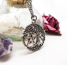 necklace silver pentagram necklace
