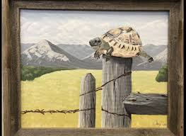 Turtle On A Fence Post Art Art World Painting