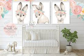 3 Boho Bunny Rabbit Wall Art Print Woodland Gold Pink Feather Nursery Pink Forest Cafe