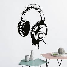 Headphones Music Dj Wall Stickers Art Design Wall Decal Available In Different Colors Wallpaper Decor Kids Bedroom Mural Sa999 Wall Decals Dj Wall Stickersdesigner Wall Stickers Aliexpress