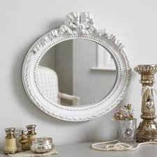 small bow oval decorative wall mirror
