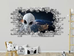 3d Alien Space Window Decal Hole In The Decal Planet Earth Etsy