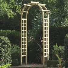 wooden garden rose arch with trellis
