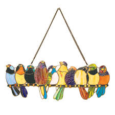 birds on a wire stained glass hanging