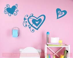 Heart Swirls Vinyl Art Decals Wall Stickers Girls Room Decor 3pc Set