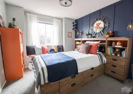 A Modern Navy Orange Nautical Kids Room Makeover The Diy Mommy