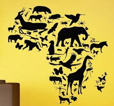 African Animal Map Wall Decal Africa Map Continent Animal Wall Art Sticker Wild Animals Pvc Kids Bedroom Wall Sticker Home Decor Stickers Home Decor Wall Stickers Home Decorhome Decor Aliexpress
