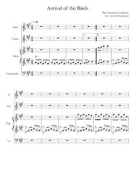 Arrival of the Birds Sheet music for Violin, Flute, Cello, Harp (Mixed  Quartet)
