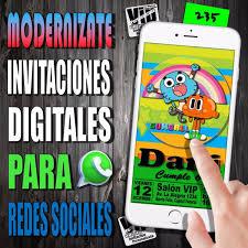 Invitacion Digital 235 Cumpleanos Gumball Y Darwin 99 99
