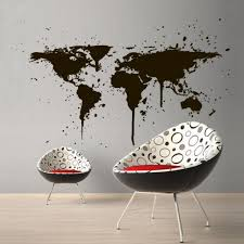 Wall Decal World Travel Map Countries City Ink Stain Paint Drip Bedroom M1389 Ebay