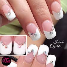 bridal french with crystals homenails