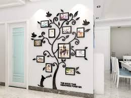 Amazon Com Kinbedy 3d Acrylic Tree Wall Stickers Photo Frames Family Tree Wall Decal Easy To Install Apply Diy Photo Gallery Frame Decor Sticker Home Art Decor Black Arts Crafts Sewing
