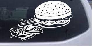 Amazon Com Cheeseburger And French Fries Business Car Or Truck Window Laptop Decal Sticker White 10in X 6 5in Kitchen Dining