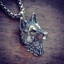 wolf pendant silver wolf jewelry wolf