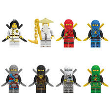 8pcs Set Anime Compatible LEGO Ninjago Masters of Spinjitzu Kai Sensei Wu  Lloyd Building Blocks Bricks Figures Model Toy For Kid|